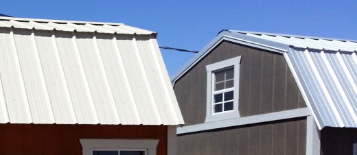 Notice how the top roof sheets overhang the lower roof sheets on the barn style roof
