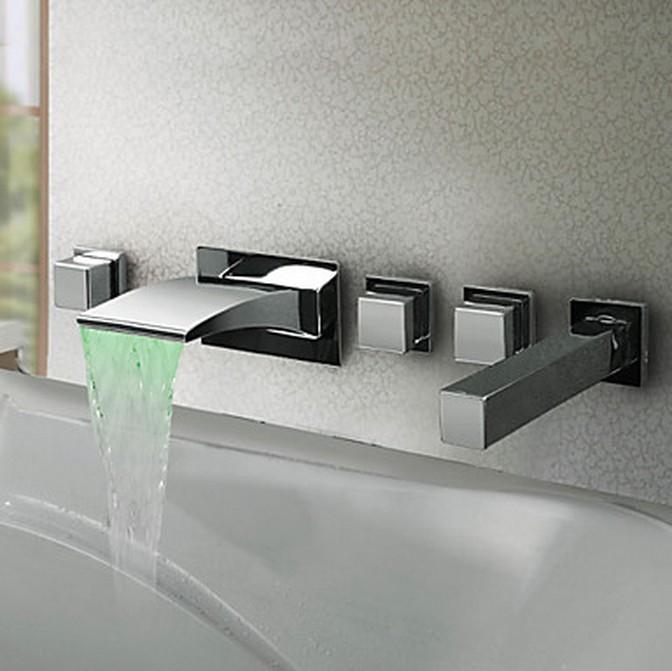 bathroom accessories fittings modern wall mount waterfall bathroom sink faucet chrome bath tub mixer tap uk tap tops