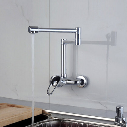 Chrome Single Handle Pull Out Centerset Wall Mounted Mixer