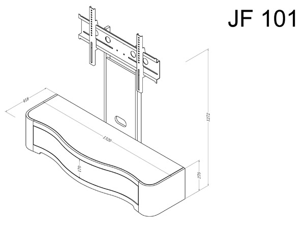 JF210 Jual Wood Walnut Cantilever TV Stand