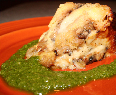 Italian Strata with Arugula Walnut Pesto