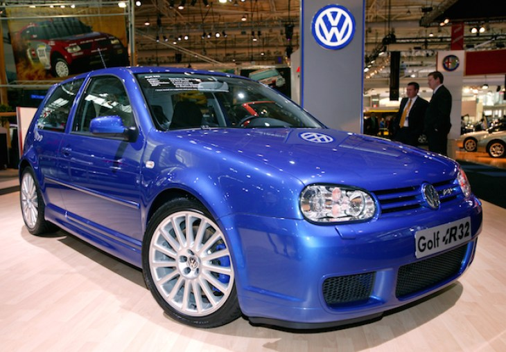 The Volkswagen Golf R32 on display