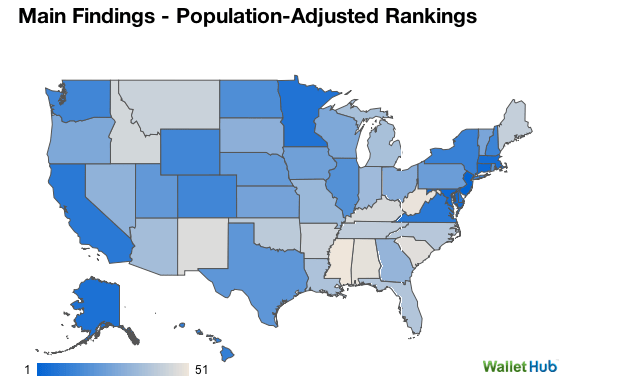 Map of the worst states for broke Americans