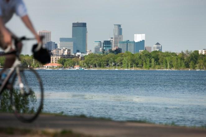 biking along lake