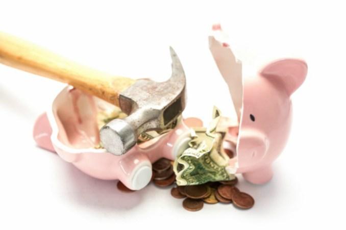 smashed piggy bank