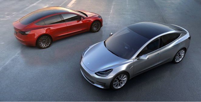 Overhead shot of Model 3 in red and gray