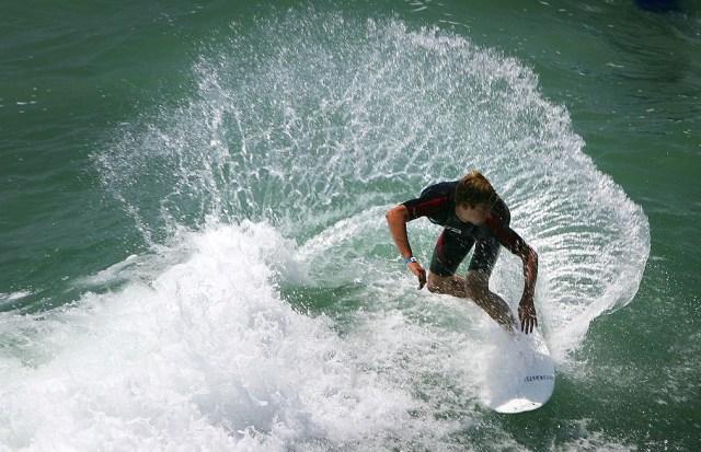 Surfer near Huntington Beach, California