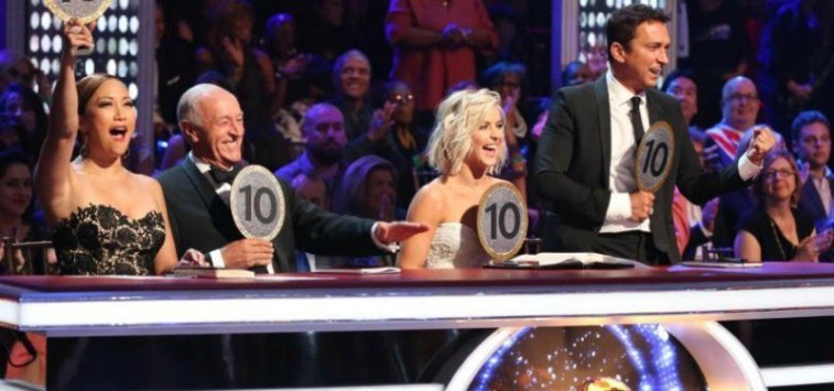 "All of the judges hold up ""10"" signs on Dancing With the Stars."