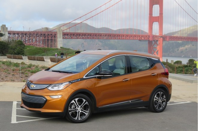 The 2017 Chevrolet Bolt EV adds 25 miles per hour on Level 2 home chargers
