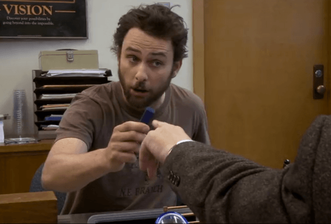 Charlie from <em>It's Always Sunny in Philadelphia</em> attends a job interview.