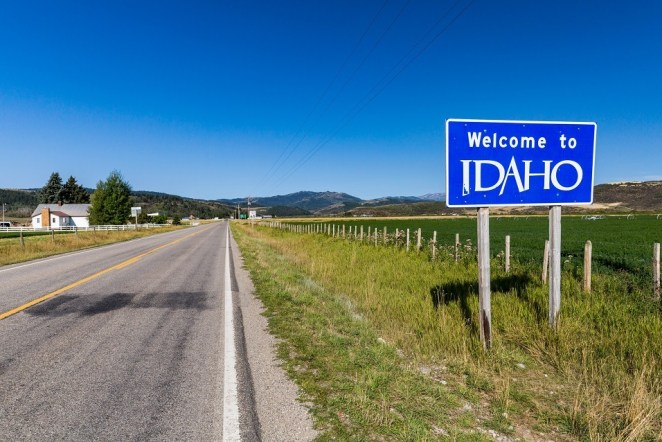 Welcome sign on the boarder to Idaho