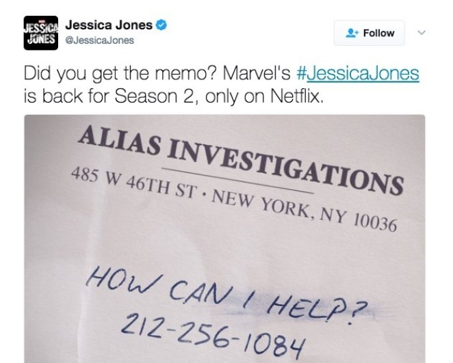 A tweet from Marvel announcing the second season of Jessica Jones