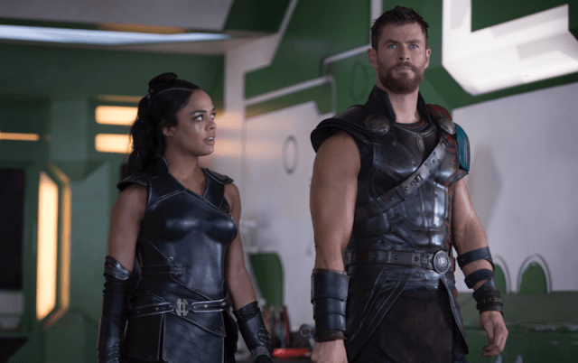 Valkyrie and Thor talk and walk together.