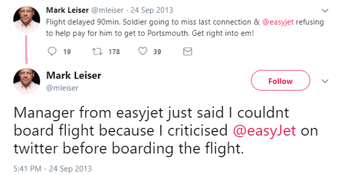 Easyjet complaint gets customer kicked off
