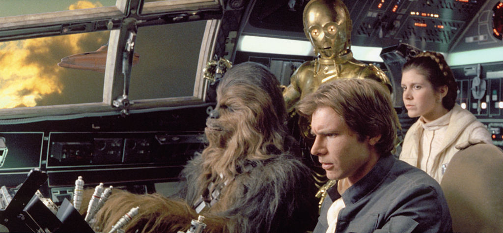 Harrison Ford, Carrie Fisher, Peter Mayhew, and Anthony Daniels in 'The Empire Strikes Back'
