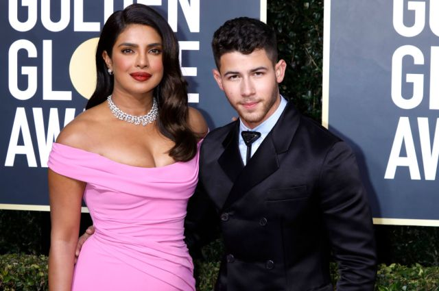Priyanka Chopra and Nick Jonas on the red carpet of the 77th Annual Golden Globe Awards