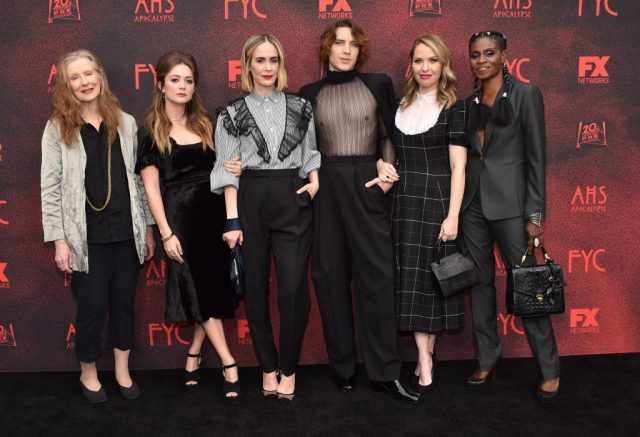 Actors Frances Conroy, Billie Lourd, Sarah Paulson, Cody Fern, Leslie Grossman, and Adina Porter of 'American Horror Story: Apocalypse'