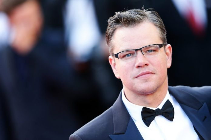 Matt Damon attends a French premiere.