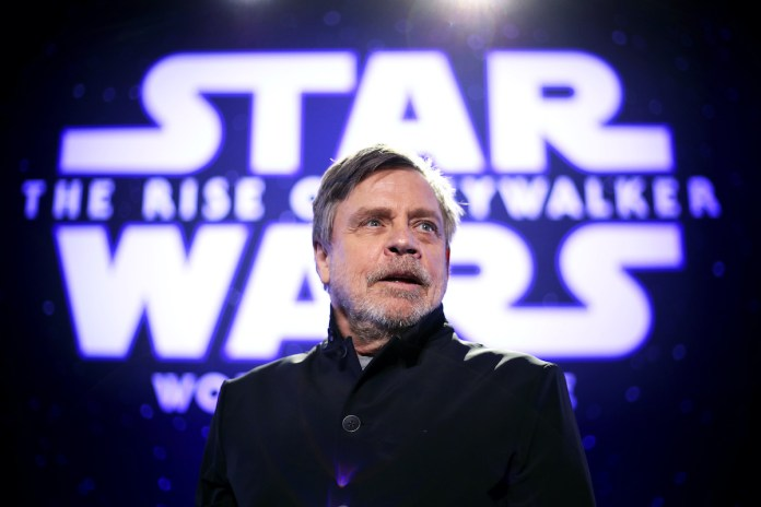 Mark Hamill premieres of Star Wars: The Rise Of Skywalker