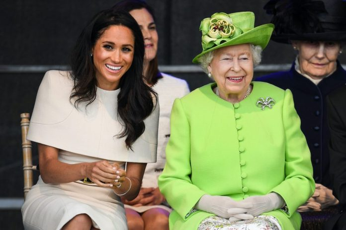 Meghan Markle and Queen Elizabeth attend a ceremony to mark the opening of the new Mersey Gateway Bridge on June 14, 2018