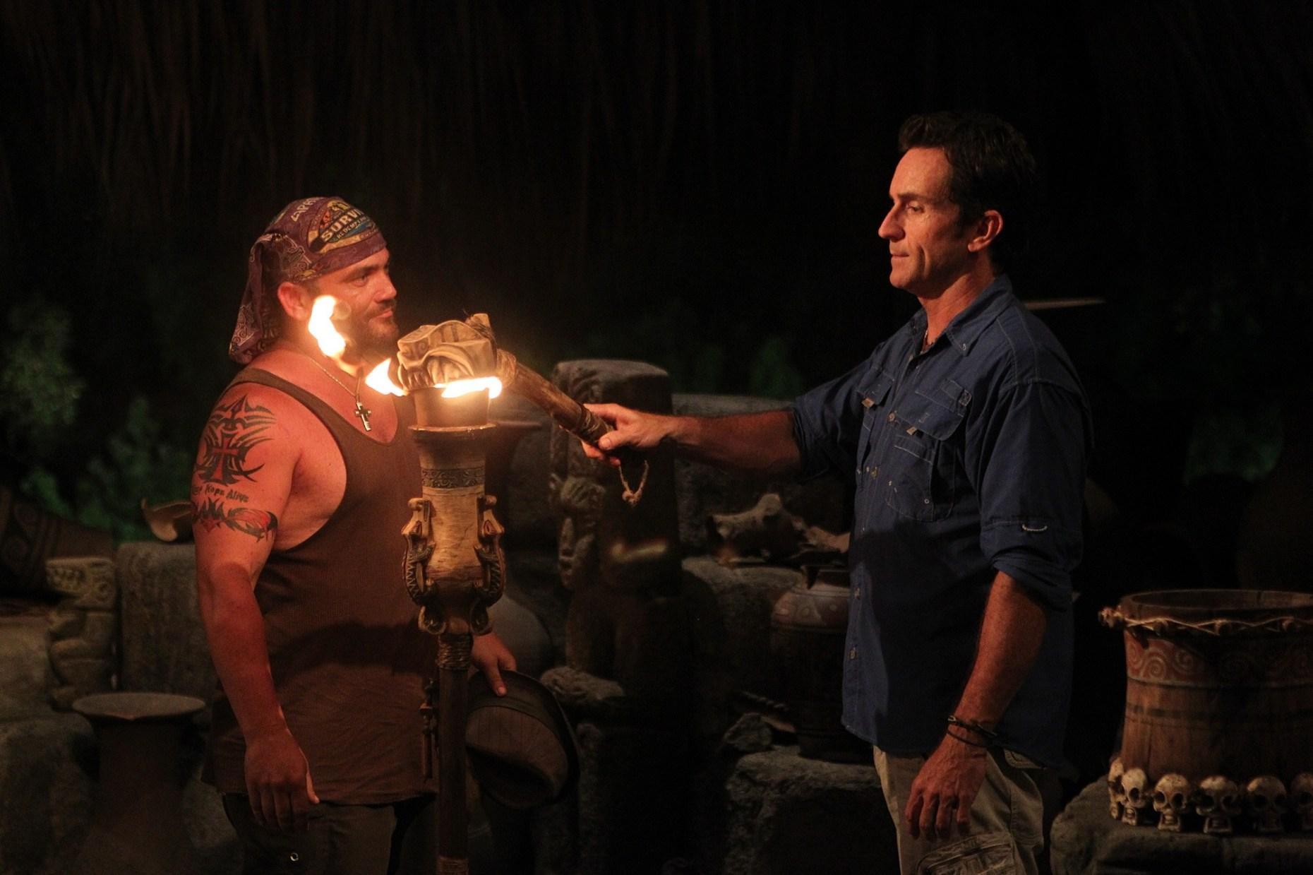 Russell Hantz and Jeff Probst of Survivor