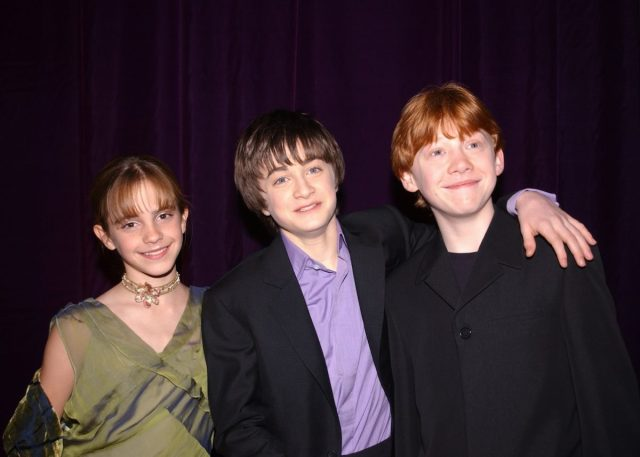 Emma Watson, Daniel Radcliffe, and Rupert Grint at the premiere of 'Harry Potter and the Sorcerer's Stone'