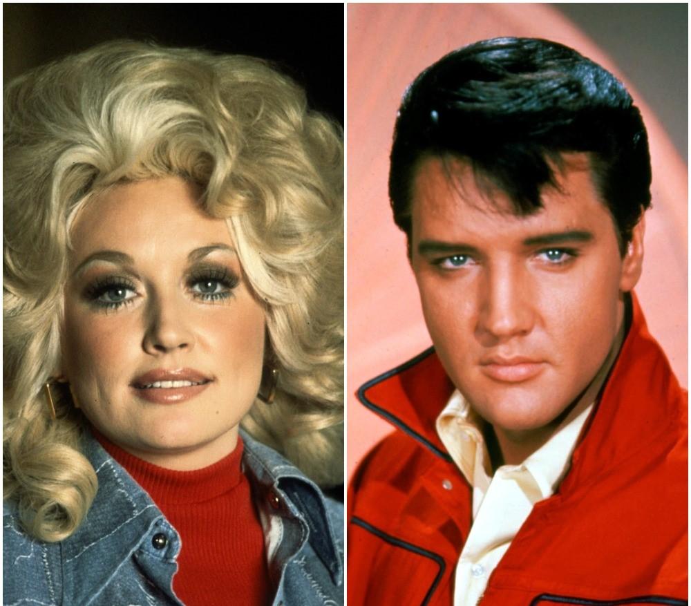 (L) Dolly Parton, (R) Elvis Presley