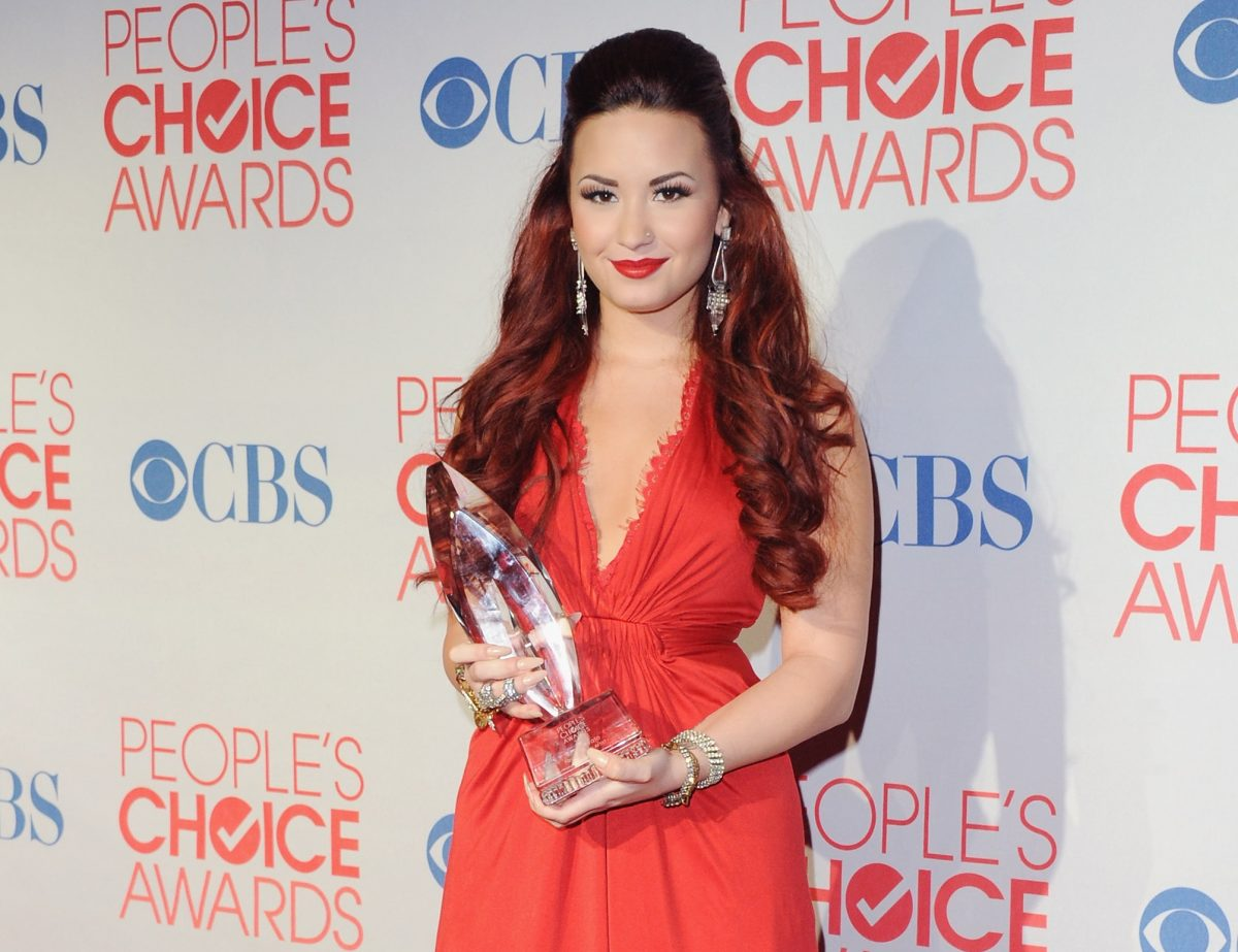 Demi Lovato stands at the 2012 People's Choice Awards Newsroom on January 11, 2012 in Los Angeles, California.