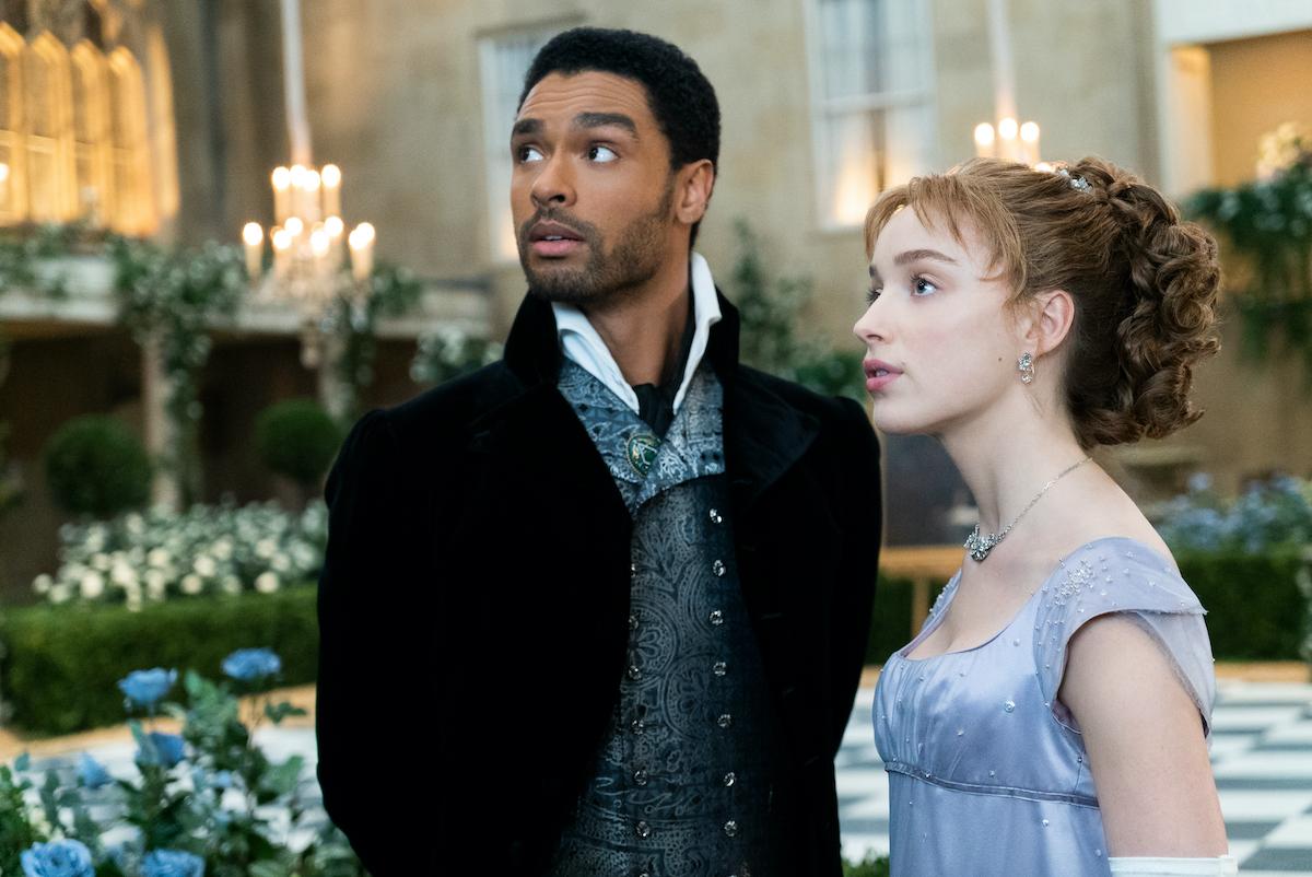 Bridgerton (left to right) Regé-Jan Page as Simon Basset and Phoebe Dynevor as Daphne Bridgerton