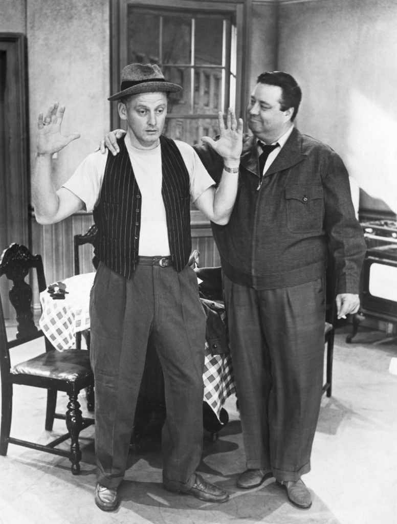 Art Carney, left, and Jackie Gleason