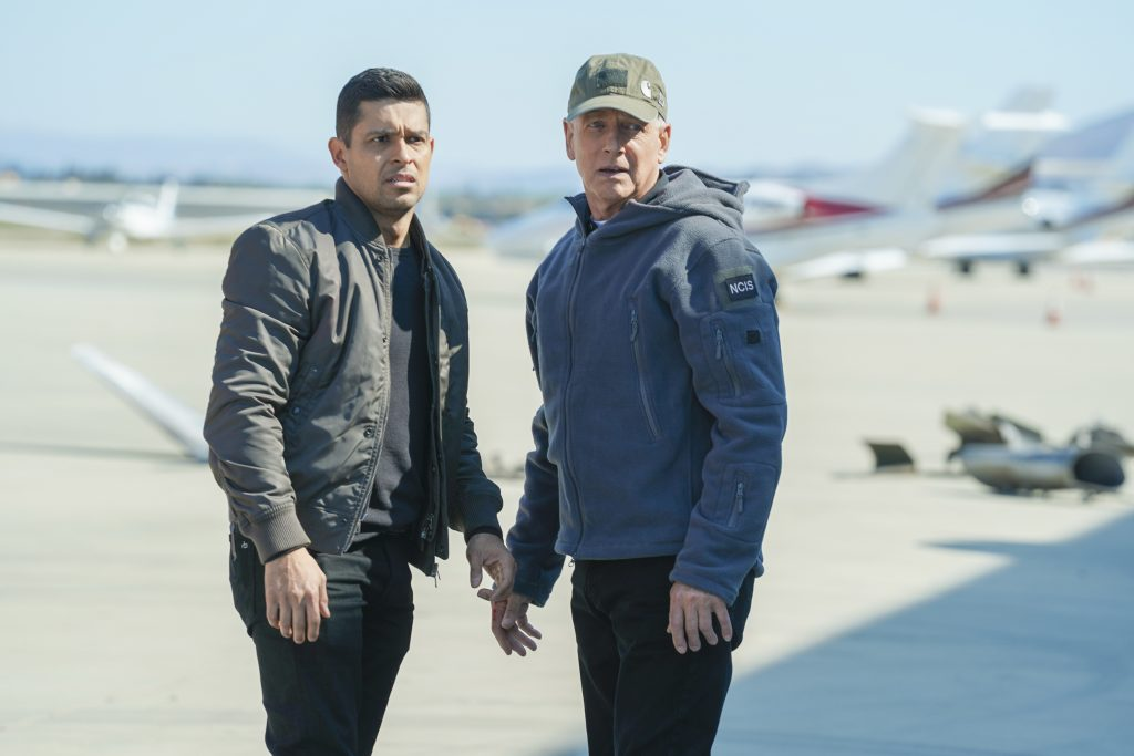 Wilmer Valderrama and Mark Harmon on the set of 'NCIS' |  Sonja Flemming / CBS through Getty Images