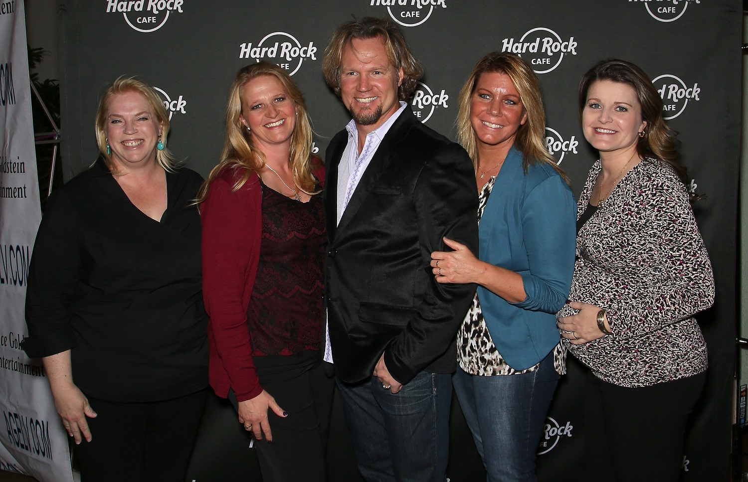 Kody Brown (C) and his wives, (LR) Janelle Brown, Christine Brown, Meri Brown and Robyn Brown of Sister Wives