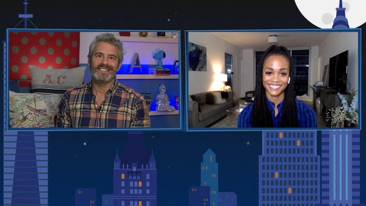 'Watch what happens with Andy Cohen live at home' - Episode 17102 - Captured by: (lr) Andy Cohen, Rachel Lindsay
