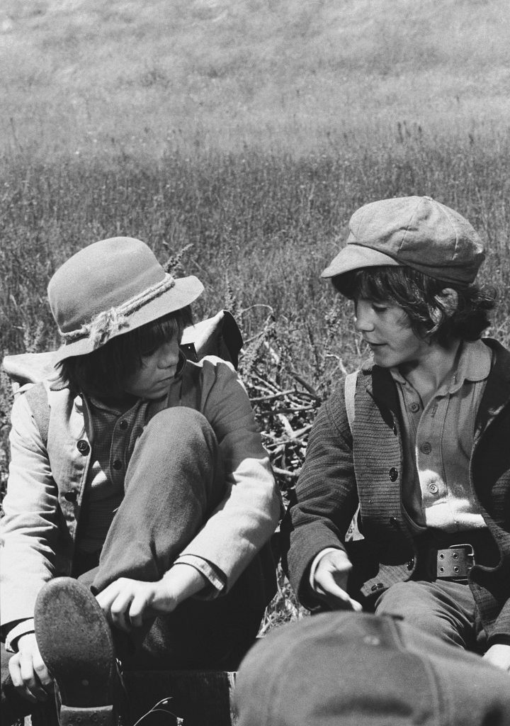 Brothers Patrick Labyorteaux and Matthew Labyorteaux in a scene from 'Little House on the Prairie'