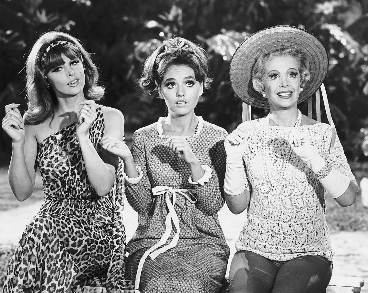 Ginger (Tina Louise), Mary Ann (Dawn Wells), and Mrs. Howell (Natalie Schaefer) in 'Gilligan Island'