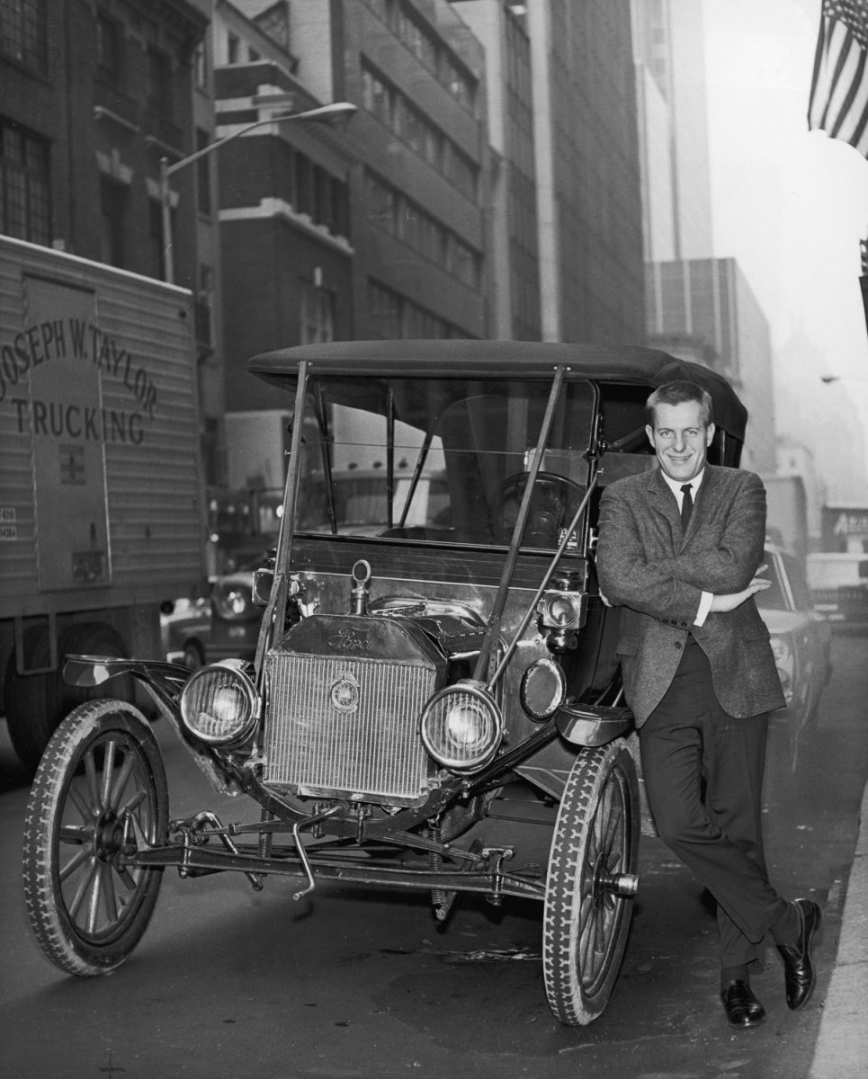 Jerry Van Dyke standing beside a 1928 Porter car from 'My Mother the Car'