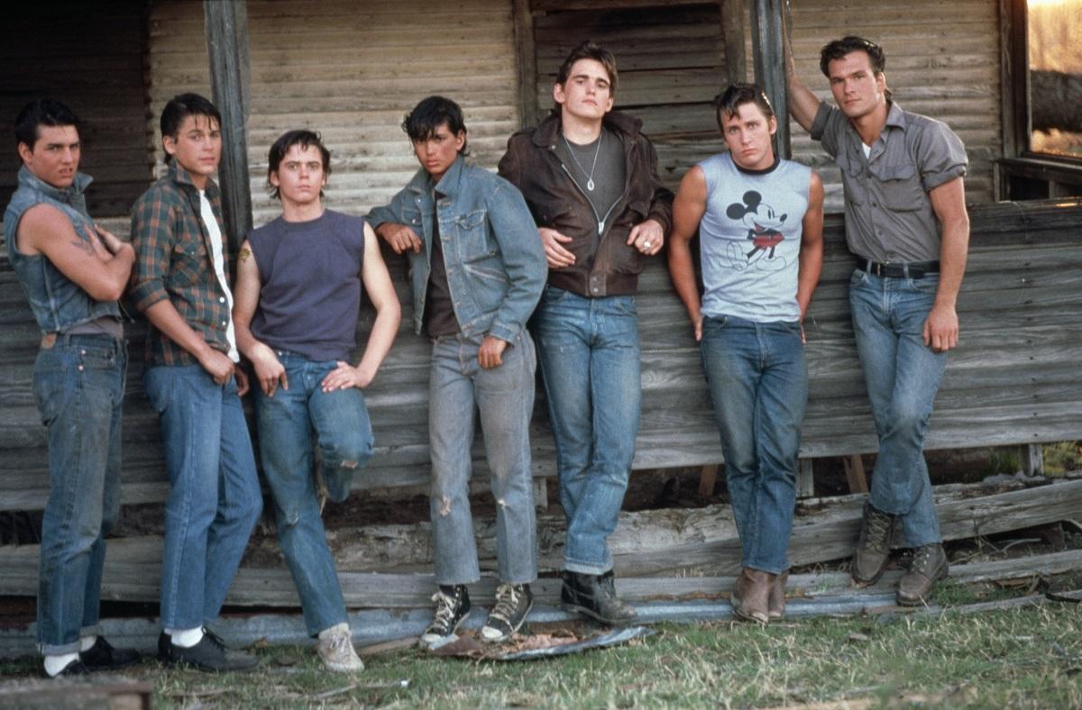 Tom Cruise, Rob Lowe, C. Thomas Howell, Ralph Macchio, Matt Dillon, Emilio Estevez and Patrick Swayze on the set of 'The Outsiders'