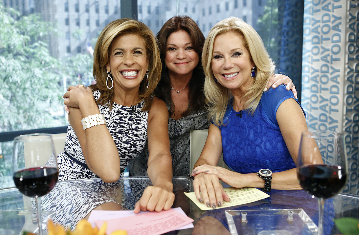 """Hoda Kotb, Valerie Bertinelli, and Kathie Lee Gifford appear on NBC News' """"Today"""" display"""