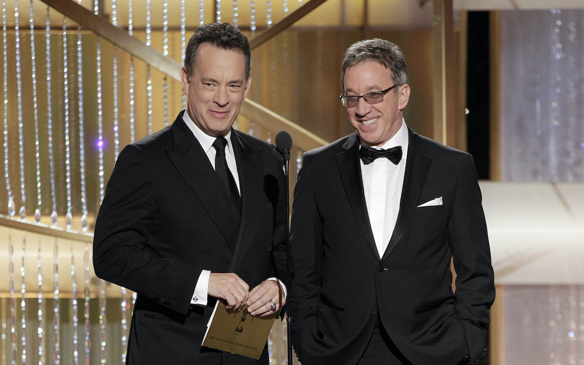 'Toy Story' stars Tom Hanks and Tim Allen on stage at 68th Golden Globe Awards