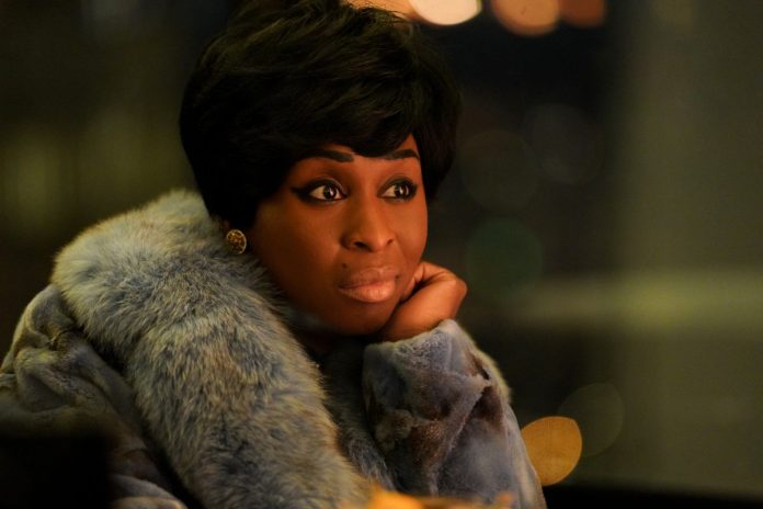 Cynthia Erivo sits with her hand on her cheek in 'Genius: Aretha'.