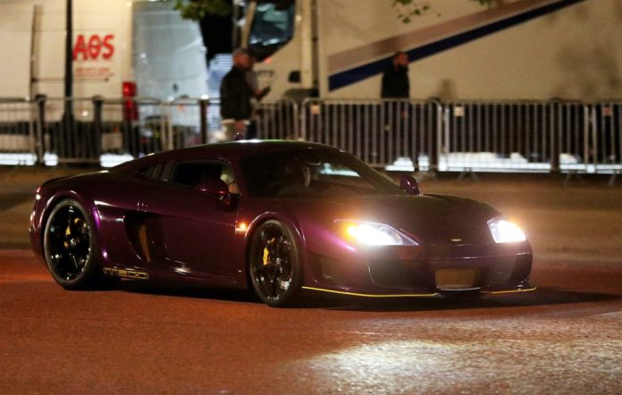 A supercar is used for a chase sequence during the filming of 'Fast and Furious'