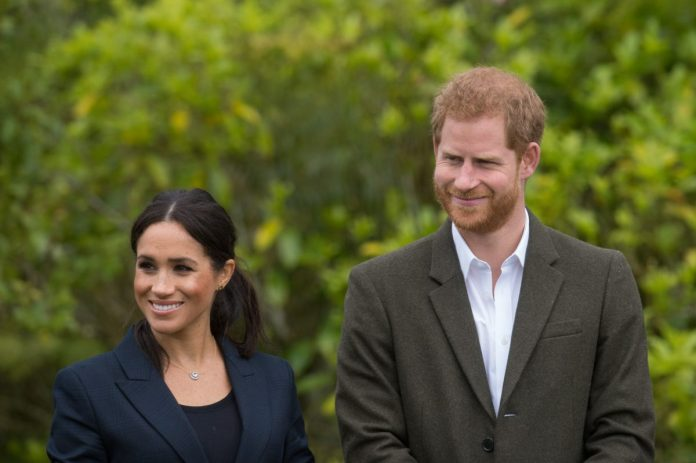 Prince Harry and Meghan Markle smiling at the unveiling of The Queen's Commonwealth Canopy
