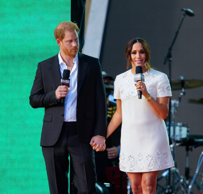 Prince Harry and Meghan Markle speak on stage at Global Citizen Live New York event
