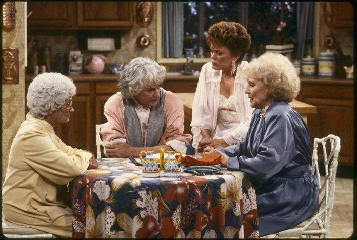 Estelle Getty, Bea Arthur, Rue McClanahan and Betty White sit in the living room of 'The Golden Girls'