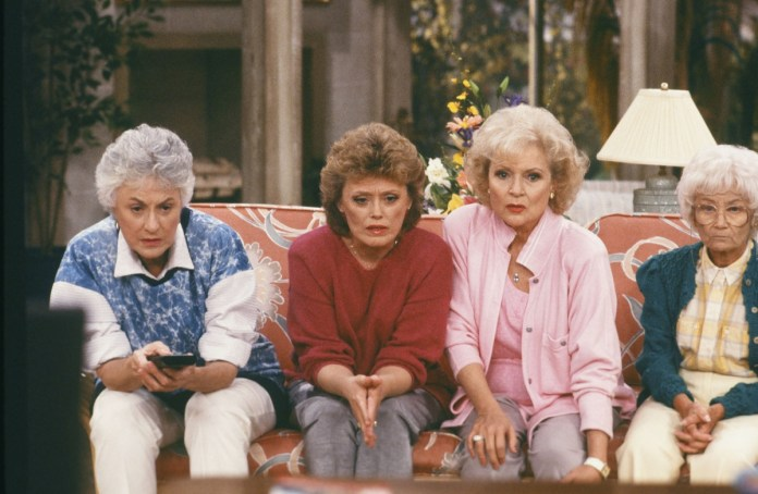 Bea Arthur as Dorothy Zbornak, Rue McClanahan as Blanche Devereaux, Betty White as Rose Nyland and Estelle Getty as Sophia Petrillo in a scene from 'The Golden Girls'.