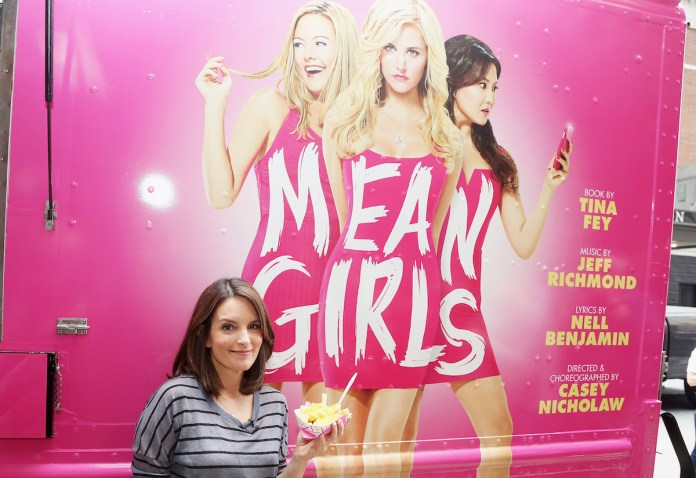 Tina Fey in front of the food truck for 'Mean Girls'