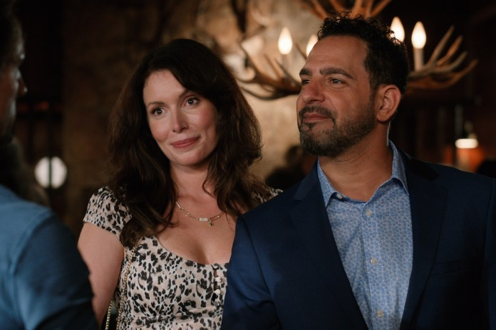 Lauren Hammersley as Charmaine and Patrick Sabongui Armin as Todd Smiling Hand in 'Virgin River'