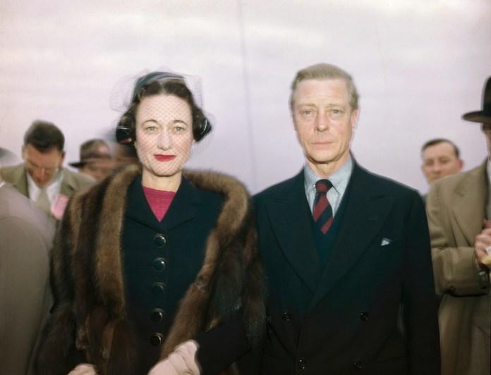 Wallis Simpson and King Edward VIII photographed coming together on a ship, circa 1946
