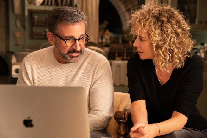 Steve Carell and Valeria Golino sitting next to each other