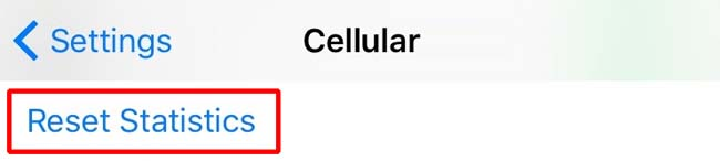 Cellular Reset setting for Apple's iPhone